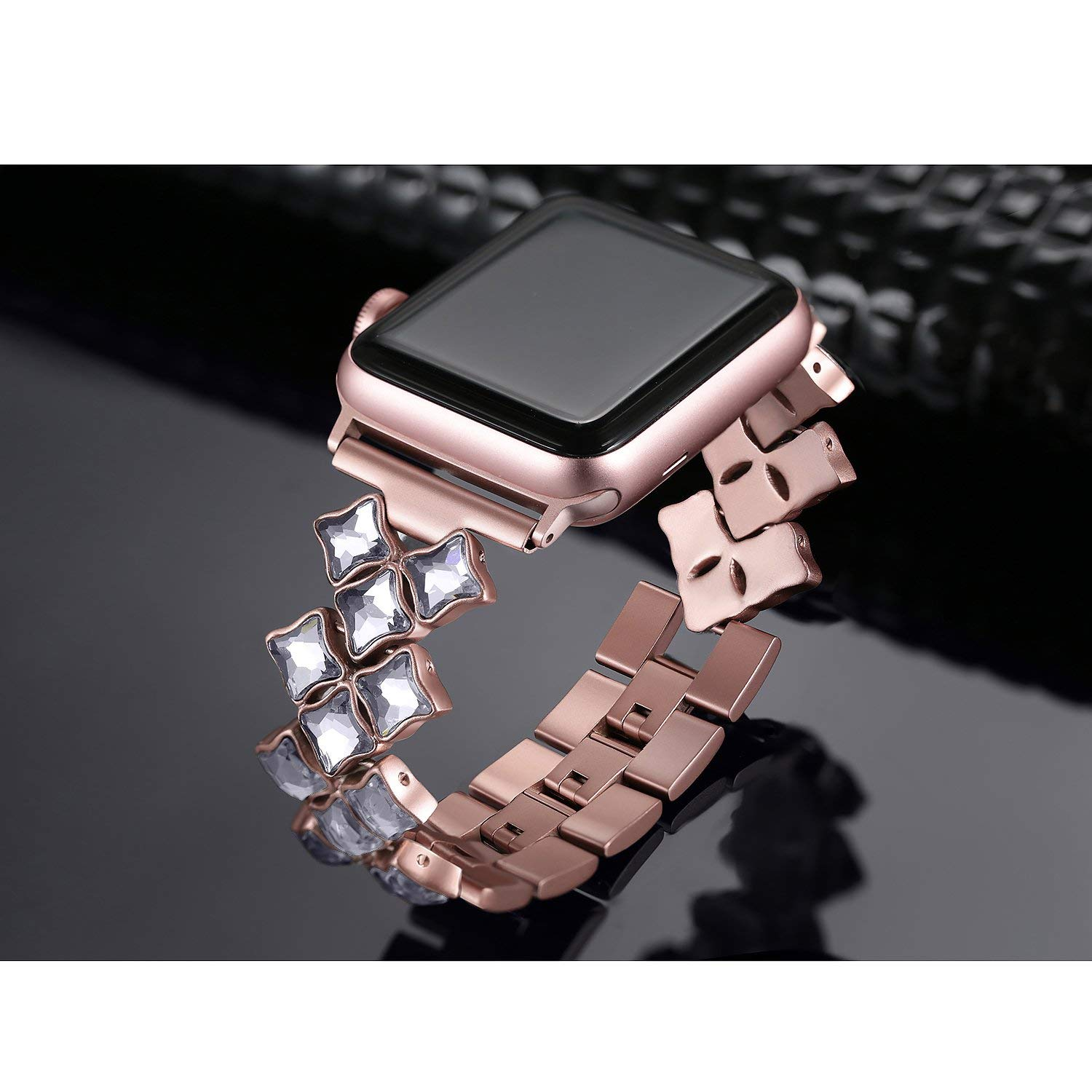 Apple Watch Bands Rose Gold Bling Diamond Stainless Steel Strap Iwatch Bracelet 44Mm 40Mm 42Mm 38Mm Series 1 2 3 4