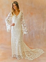 Boho Wedding Dress Bell Sleeve Simple Vintage Crochet Lace Bohemian Wedding Dress with Train V-neck Summer Beach Bridal Gowns