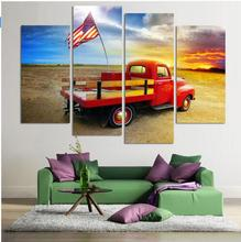 4 Piece Oil Painting Print Cuadros American Flag On a Truck Pictures Canvas Prints Home Decoration for Living Room  No Frame