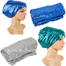 "African headwrap Multi-colored turban gele full sequins Width72""*22""African turban lady women headtie african scraf headtie."
