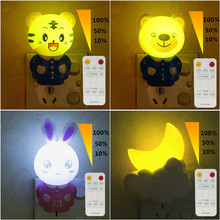 Led Night Light Lamp 0.5W AC220V With Remote Control Dimmer timed Baby Nightlight Cartoon For Children Bedroom, Passageway(China)
