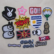 16 kind mixture fashion cartoon patter hot melt adhesive applique embroidery patches stripes DIY clothing accessory 1pcs sell(China)