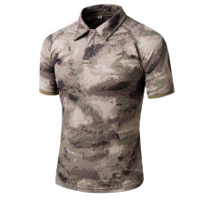 Camouflage Outdoor T Shirt Men Summer Quick Dry Sport Hiking Camo Hunting T-shirt Turn Down Military Tactical Army Tops