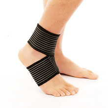 Elastic Ankle Support Black Sports Safety Adjustable Sports Protector Bandage Supports Guard Ankle Wrap(China)