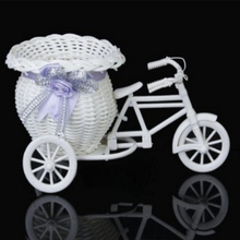 Rattan Tricycle Basket Garden Wedding Party Office Vase Storage Decoration Casamento Mariage(China)
