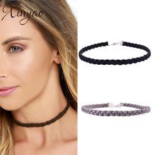 2016 Vintage Simple Black/White/Grey Suede Velvet Braided Choker Necklace For Women Weave Chocker Necklace Collares Mujer F6091