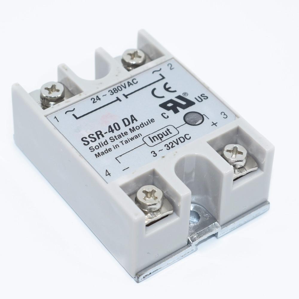 10PCS SSR-40 DA DC to AC DC-AC Solid State Relay Module   SSR-40DA Temperature Controller 24V-380V 40A 250V 3