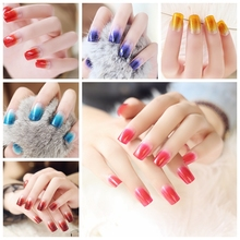 24pcs/set Glitter Nail Tips Acrylic False Nails French Faux Ongles Fake Nails for Art Sky Blue Fingernails with Free Glue XCP
