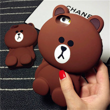 Cute Cartoon Brown Bear Silicone Phone Case for iphone 5 5s 6 6s 7 plus 3D Teddy Bear hug drop resistance protective sleeve(China)