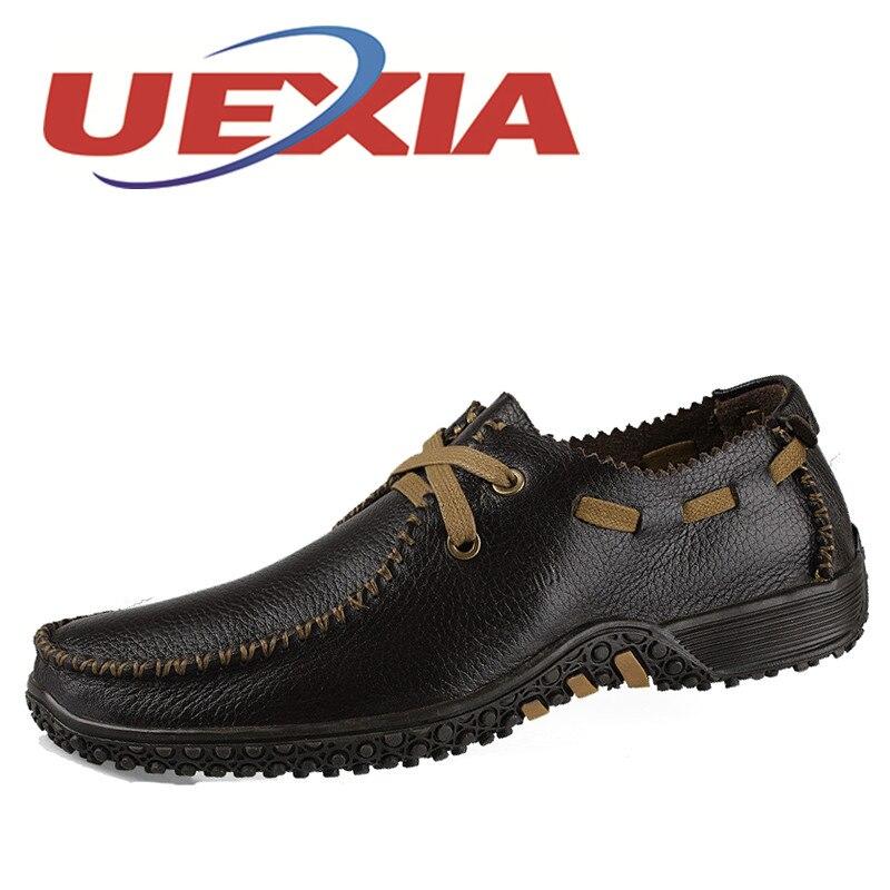 Shoes Men Fashion Men Casual Shoes Plus Size 47 Genuine Leather Men Flat Shoes Best Quality Zapatos Hombre Lace Up Chaussure<br>