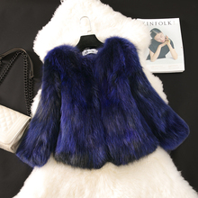 2016 New fashion real raccoon dog fur coat women short slim O neck 3/4 sleeve natural fur jackets and coats autumn winter g170