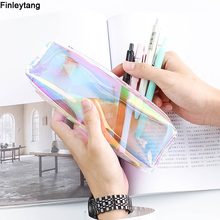 Kawaii Transparent Glitter Pencil Case Stationery Bags Creative Fashion Pvc Pencil Bag School Pencil Box Supplies Student Gift(China)