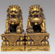 SUIRONG---518+++Large Pair Bronze Chinese Lion Foo Dog Statue Figure Sculpture Black yellow10(China)