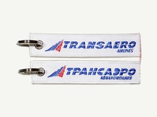Transaero Russian Charter Airline Keychain Keyring Russia Embroidery Aviation Keytag(China)
