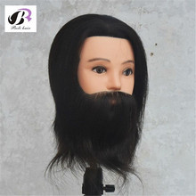 "100% Human Hair 8"" Black Hair Male Hairdresser Training Mannequin Head Hairdressing Styling Practice Mannequin cosmetology heads(China)"