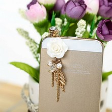 High Quality 2016 Beautiful Pink Flower 3.5mm Anti Dust Plug for iPhone Samsung HTC Sweet Girls Phone Pendants(China)