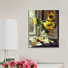 Diy digital oil painting by numbers coloring by numbers wall decor canvas painting for home decor sunflower on the window