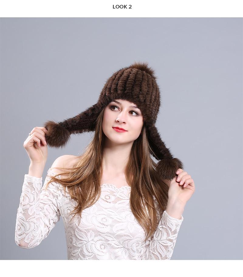 Brand NUZADA Thickening 100% Real Mink Fur Winter Hat Knitted Caps Women Lady Girl Skullies Beanies Ear Female Cap Russian
