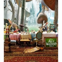 Alice In Wonderland And Cartoon Cat Carpet Mushrooms  backdrop Vinyl cloth Computer printed wedding Backgrounds