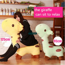 Dorimytrader 125cm Huge Plush Animal Giraffe Kids Sofa 49'' Big Soft Stuffed Giraffes Toy Children Play Doll Present DY61320