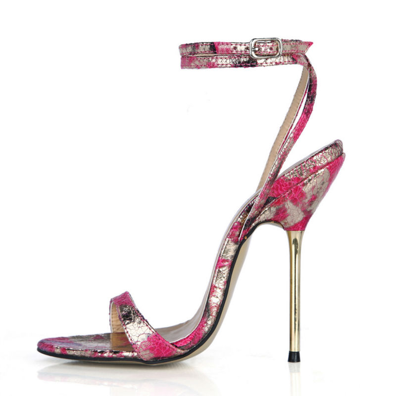 2017 New Red Flower Sexy Party Shoes Women Thin Metal High Heels Ankle Strap Ladies Sandals Plus Sizes 10 Zapatos Mujer 3845-i13<br><br>Aliexpress