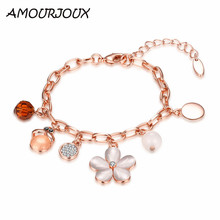 AMOURJOUX Rose Gold Color White Opal Flower Charm Bracelets & Bangles With Clear CZ Female Clasp Bracelet Jewelry Woman Gift