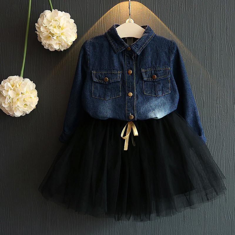 2017 new  baby set toddler Girls clothing set Kids denim shirt+tutu skirt set children spring suit 2-7y<br><br>Aliexpress