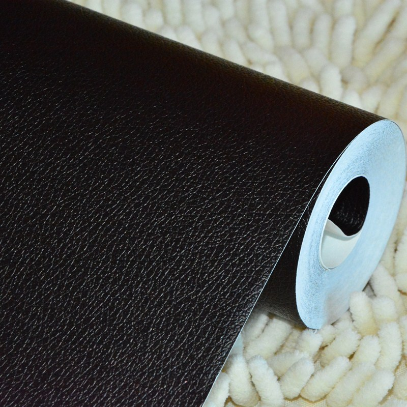waterproof solid color black wallpaper scrub wiredrawing faux leather pvc vinyl living room wallpaper<br>