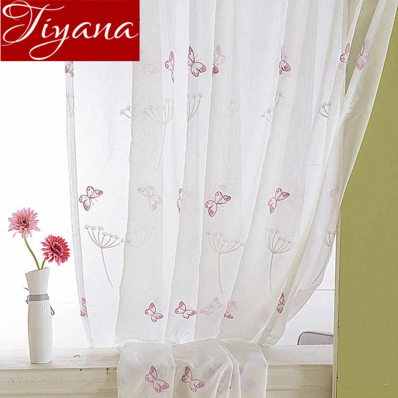 Butterfly Pink Curtains Embroidered Sheer Voile Window Modern Living Room Bedroom White Curtain Tulle Fabrics Cortinas T&266 #20