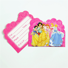 10pcs/lot Invitation Card Princess Snow white Cinderella Kids Birthday party supply event party supplies party Decoration Set(China)