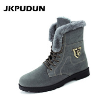 JKPUDUN Winter Warm Snow Men Boots Casual Skull Shoes Luxury Brand 2016 Designer Fashion Fur Chelsea Ankel Boots For Men Bot