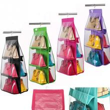 4 Color Fashion 6 Pockets Hanging Storage Bag Purse Handbag Tote Bag Storage Organizer Closet Rack Hangers