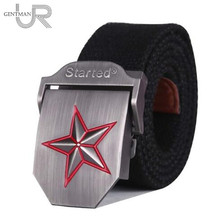 Hot 3D-Red Star Buckle Military Belt Fashion Strong Canvas Army Tactical Belt Mens Top Quality Belts 10 Colors Luxury Strap(China)