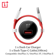 Genuine Official Car Charger Adapter Oneplus 5 3 3T Dash Car Charger + 100cm Type C Round Quick Charging Cable One Plus 3T 3 5(China)