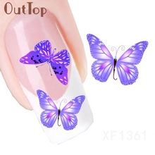 New Fashion Design Butterfly Pattern Nail Art Foil Stickers Transfer Decal Tips Manicure Nial Decoration feb16
