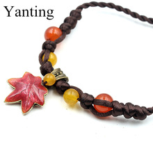 Cloisonne Maple Leaf pendant necklace handmade knitted yellow chalcedony beads short choker necklace new gift 0532(China)