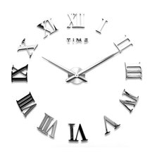 New Modern Fashion Mirror Large Roman Quartz Room Watches Wall Clock Home Decor(China)