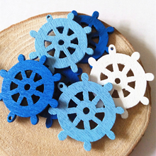 50pcs Hot Sale Mix Color Mini Wooden Sea Anchor Wheel Nautical Craft Home Party Wedding DIY Decoration Approx 2.5cm
