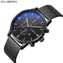 CUENA Fashion Casual Men Quartz Watches Clock Relojes Stainless Steel Male Wristwatches Waterproof Relogio Masculino Black 6619(China)