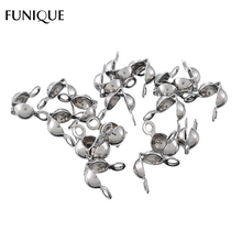 FUNIQUE Claps Jewelry Findings 50PCs Silver Tone Stainless Steel Bead Clasps Bead Chain Hooks For Bracelets & Necklace 7.7x7.4mm