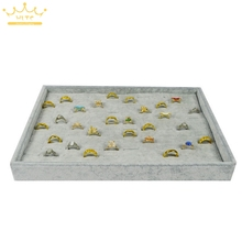 High Quality Grey Velvet Ring Display Tray Organizer Show Case Jewelry Display 35*25*3cm