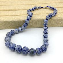 Natural Stone Bead Choker Necklace Blue Spot Stone Sodalite Beads Necklace 9-18 mm Beads Fashion Necklace(China)