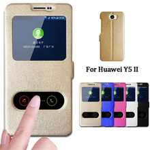 For Huawei Y5 II Case Quick View Window Stand Cover For Huawei Y5 ii Y5II 2 Case Flip PU Leather Phone Cases CUN L21 U29 L01 5.0(China)