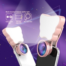 Buy LED Selfie Flash Light Beauty Phone Lens Fill Light 150 wide angle 180 fisheye 50X macro Clip-on Phones Camera Lense Kit for $6.17 in AliExpress store
