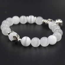 Natural opal beads bracelets crystal fashion women bracelet vintage stainless steel braceletes 030(China)