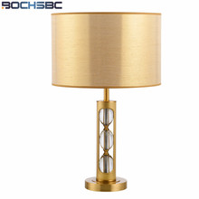 Gold Lamp Shades Table Lamp For Living Room Bedroom Table Lamps Luxury Copper Crystal Lampara Study Cloth Desk Lamp H69cm(China)