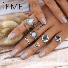 Steampunk Bijoux Vintage Silver Color Black Stone Knuckle Ring Set White Opal Midi Rings BOHO Female Charms Jewelry Anillos Gift