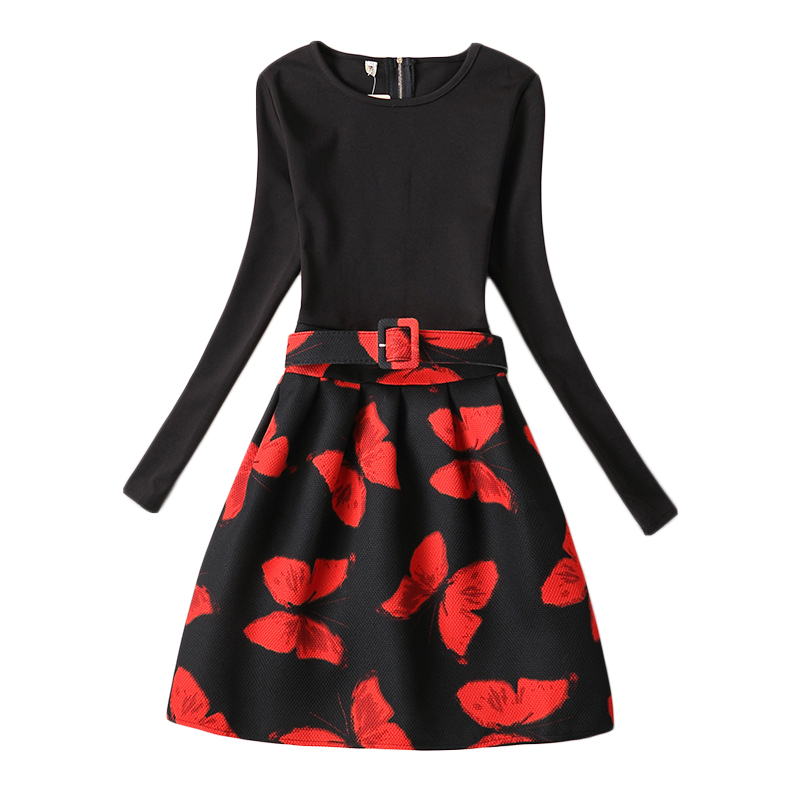 Girls Red Butterfly Flral Print Dress 2017 New Fashion Teenage Long Sleeve Dresses Elegant Princess Party Frocks 6-20 Yrs GD100<br><br>Aliexpress