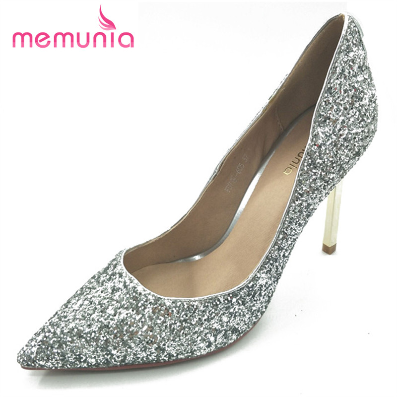 MEMUNIA 2017 new arrive women pumps sexy thin heels pointed toe high heels shoes fashion glitter spring autumn single shoes<br>