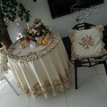 Beautiful rustic fabric embroidery dining table cloth round table cloth tablecloth cutout cover towel pink rose(China)